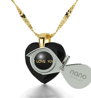 """What to Get Wife for Christmas, ""I Love You Truly, Madly, Deeply"", CZ Black Heart, Valentine Gifts for Girlfriend"""