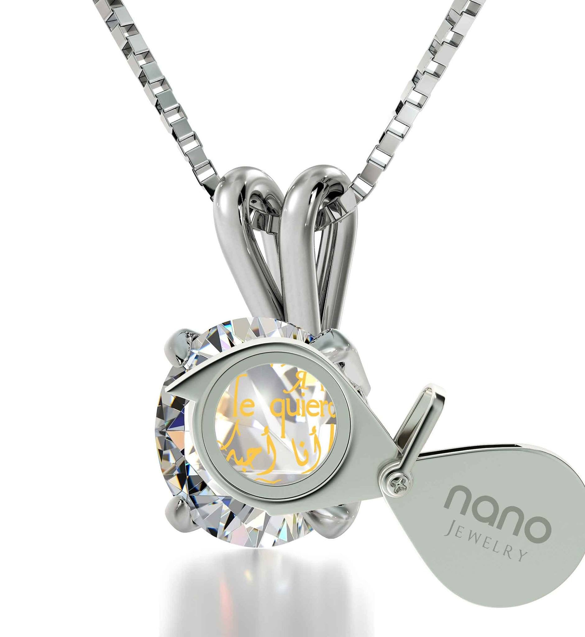 "Xmas Ideas for Wife: ""Te Quiero"", Crystal Stone Jewerly, Best Valentine Gift for Girlfriend by Nano"