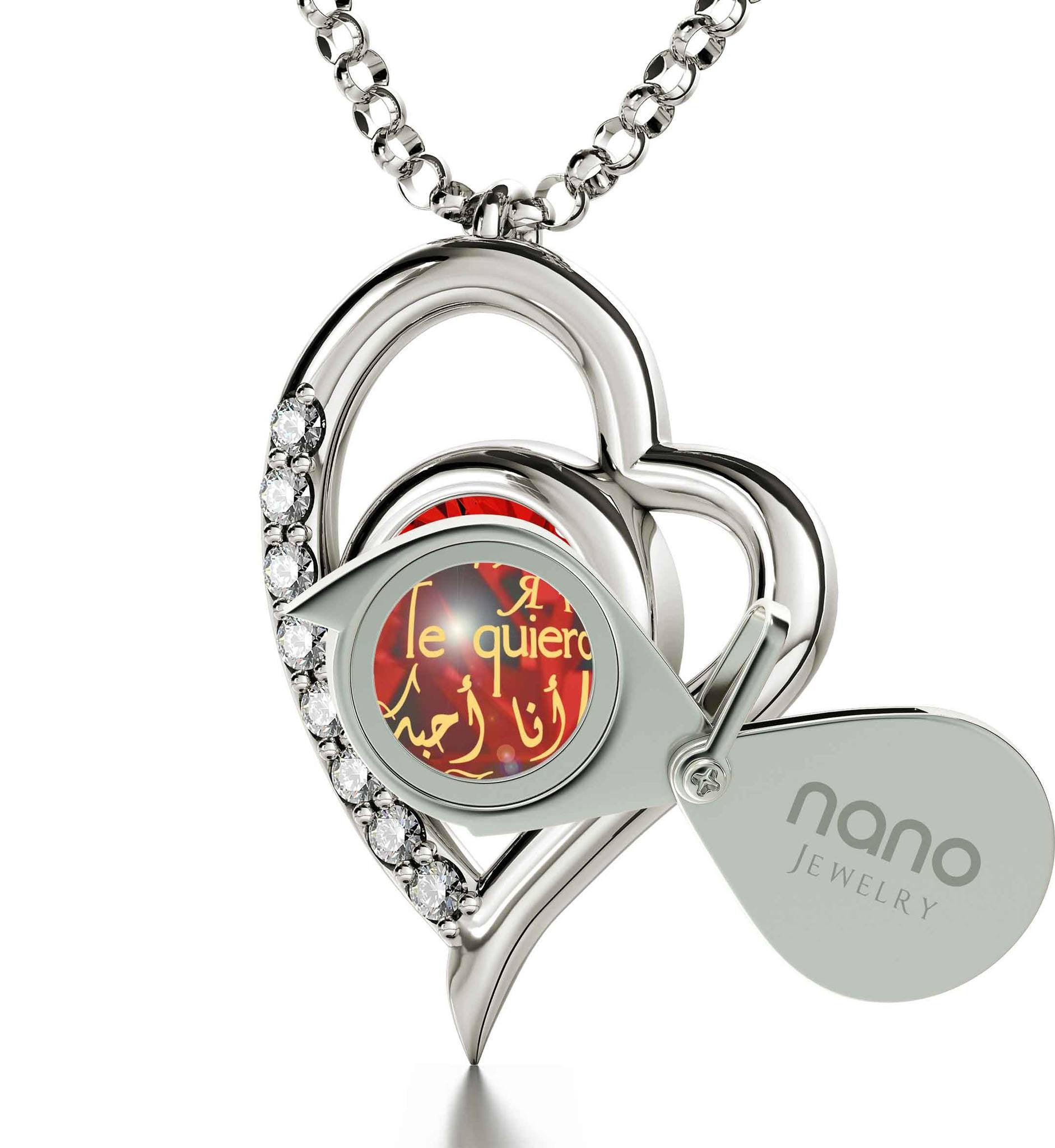"What to Get Your Girlfriend for Valentines Day: ""Te Quiero"", 14k White Gold Pendant with Diamonds, Cute Necklaces for Her"