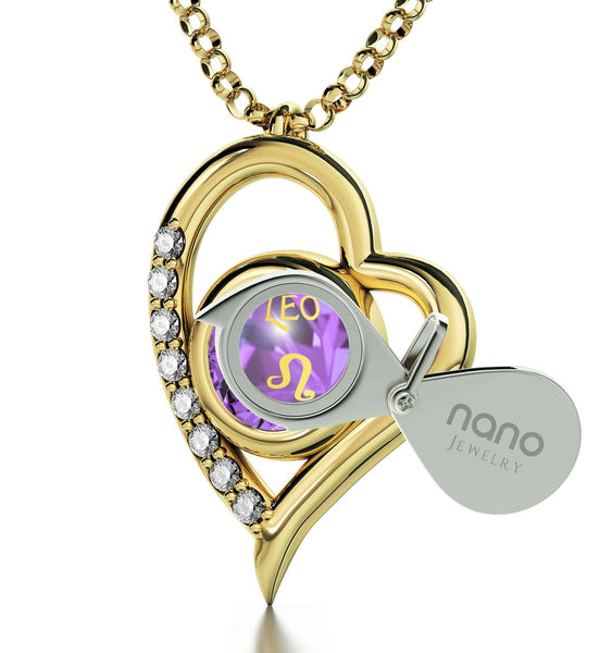 """Leo Zodiac Necklace, Women's Gold Jewelry, Girlfriend Christmas Presents, Best Valentine Gift for Wife"""