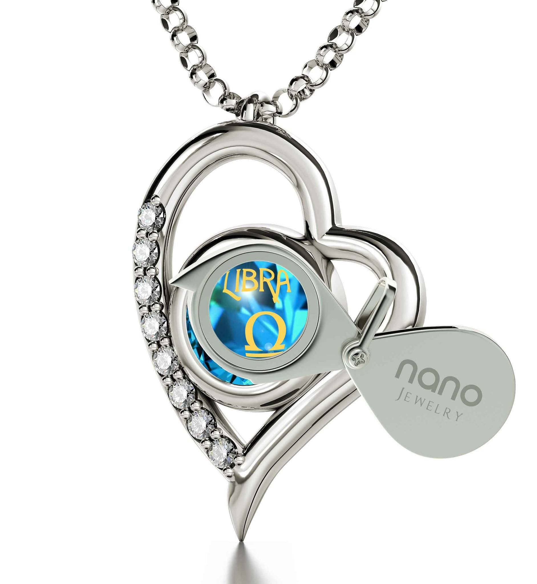 """Libra Sign Necklace: Heart Shaped Pendant, Xmas Ideas for Her, Cute Valentines Day Gifts for Girlfriend, Nano Jewelry"""