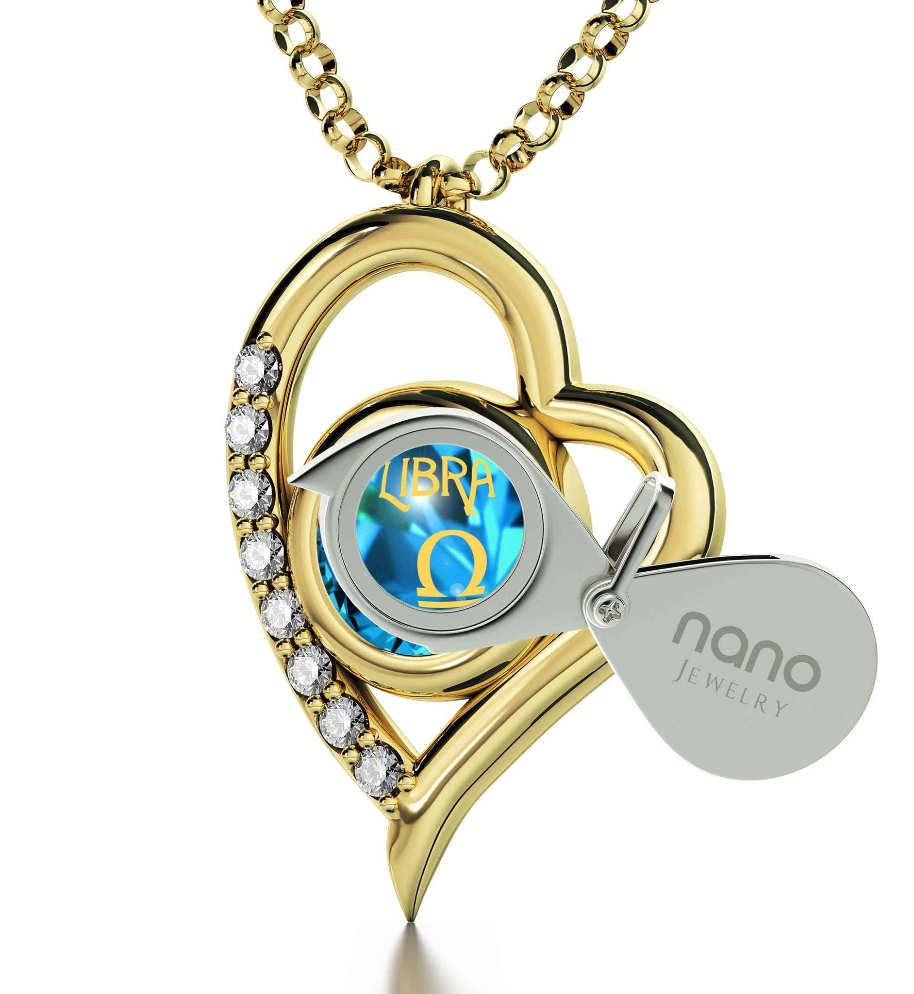 """Libra Sign Engraved in 24k, Blue Stone Necklace, Top Womens Gifts,Cute Christmas Gifts for Your Girlfriend,Nano Jewelry"""