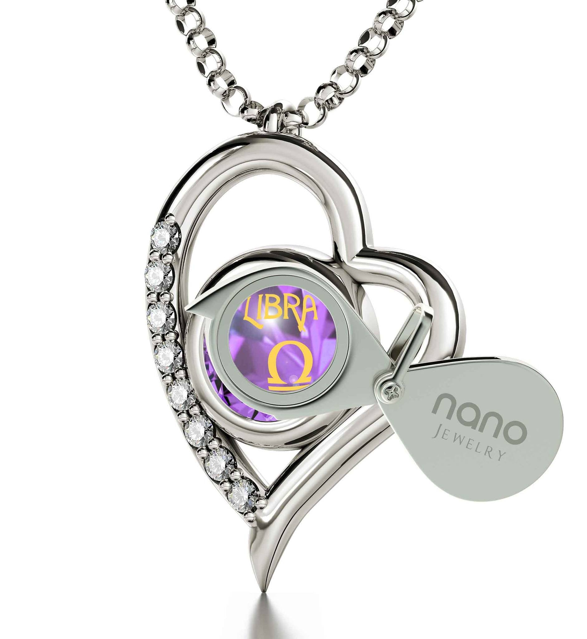 """Libra Sign Pendant: Heart Zircon Pendant, Ladies Christmas Presents, Special Gifts for Sisters, Nano Jewelry"""