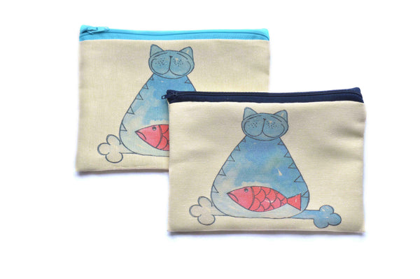 Blue Cat , Zipper Pouch/Purses - AHENQUE