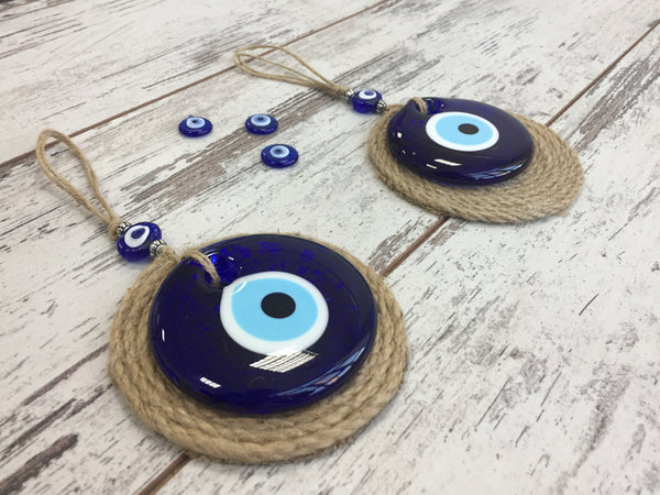 2 Piece Round Glass Evil Eye/Lucky Eye  Charm With Round Jute Background, Blue Evil EyeTalisman, Home/Housewarming Gift, Wall Hanging Home Decor Gift for Mom/Friend/Colleague