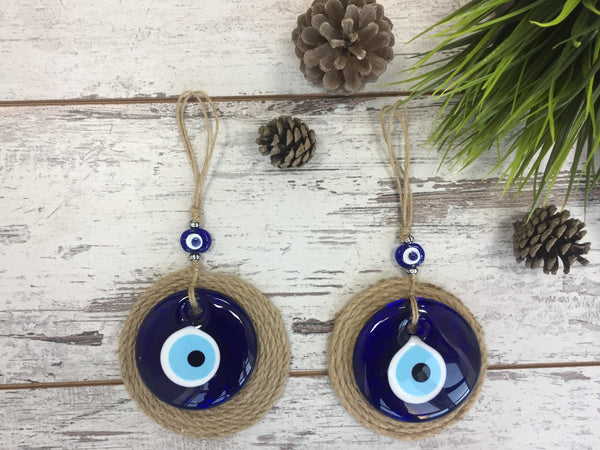 2 Piece Round Glass Evil Eye/Lucky Eye  Charm With Round Jute Background, Blue Evil EyeTalisman, Home/Housewarming Gift, Wall Hanging Home Decor Gift for Mom/Friend/Colleague - AHENQUE
