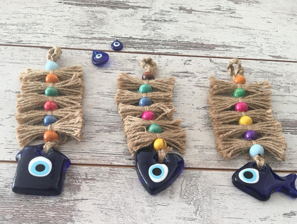 3 Piece Colorful Evil Eye Wall Hangings with Jute Rope, Handmade Glass Blue Evil Eye Wall Decor, Home&Heart&Fish Shaped Turkish Good Luck Charm - AHENQUE