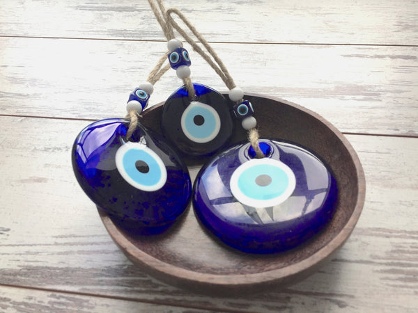 Set of 3 Glass Lucky Eyes Charm, Blue Eye Beads, Evil EyeTalisman, Turkish Glass Amulet, Wall Hanging, Decorative Hanging Ornament - AHENQUE