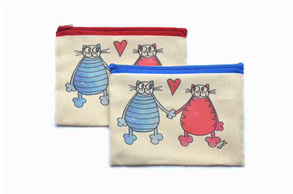 Happy Couple , Zipper Pouch/Purses - AHENQUE