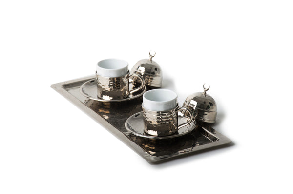 Copper Turkish Coffee Set, Espresso Set, White - AHENQUE