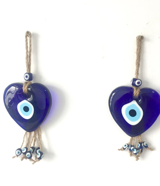 Set of 2 Heart Shaped Glass Blue Evil Eye Wall Hanging Decorative Wall Talisman, Good Luck Charm Gift for Protection&Blessing, Authentic & Unique Gift Idea - AHENQUE
