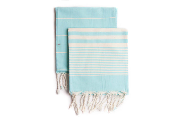 Set of 2, Handloomed Peshkir/Tea Towel/Dish Towel, Aqua Blue - AHENQUE