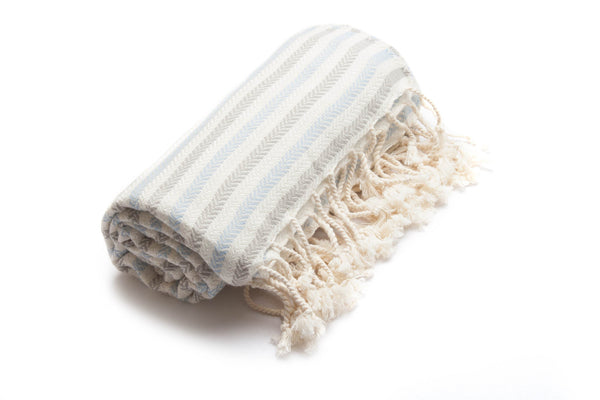 Handloomed Turkish Towel, Peshtemal/Beach Towel/Bath Towel, Blue, Mink - AHENQUE
