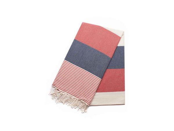 Handloomed Peshtemal/Turkish Towel, Red&Navy, Striped - AHENQUE
