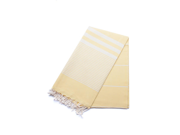 Handloomed Peshtemal/Turkish Towel, Yellow, Striped - AHENQUE