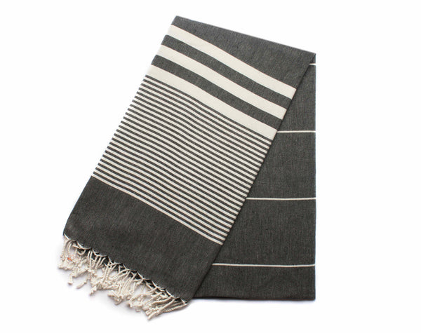 Handloomed Peshtemal/Turkish Towel, Black, Striped - AHENQUE
