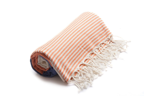 Handloomed Peshtemal/Turkish Towel, Orange & Blue, Striped - AHENQUE