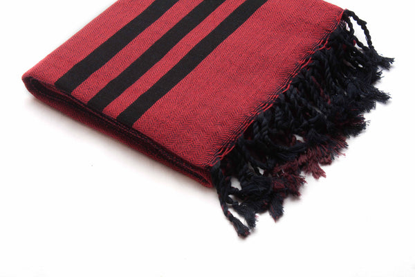 Handloomed Turkish Towel, Peshtemal/Bath Towel/Shawl, Red, Black - AHENQUE