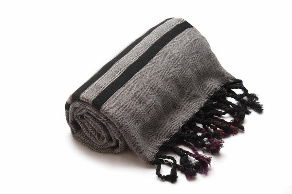 Handloomed Turkish Towel, Peshtemal/Bath Towel/Shawl, Grey,Black, Red - AHENQUE