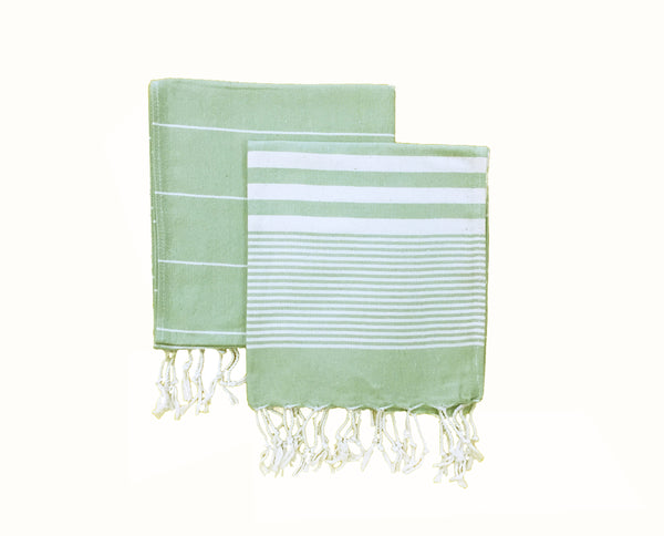 Set of 2, Hand-Loomed Peshkir/Tea Towel, Almond Green - AHENQUE