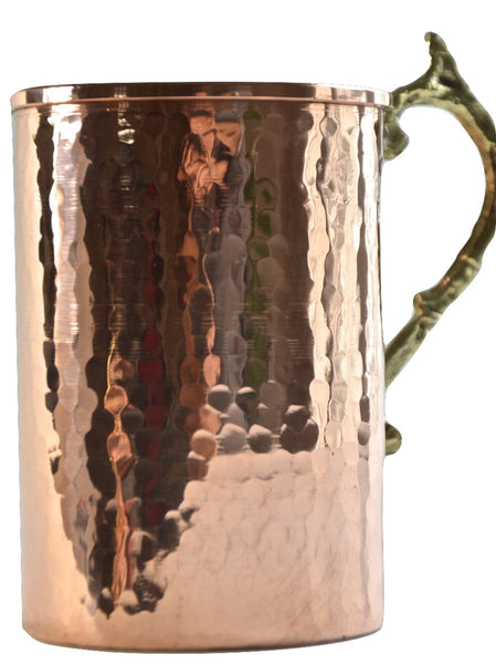 %100 Pure Copper Hand Hammered,Big Size Red Copper Mug, Copper Beer Mug, Moscow Mule Mug, Office/Boyfriend/Father Gift, Bar Drinkware - AHENQUE