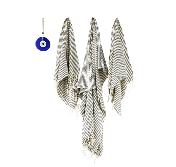3 piece Hand-loomed Striped Elegant Cotton Towel Set, Bath Towel&Set of 2 Hand Towel/Kitchen Towel, Extra Soft Towel Set, Dries Easily - AHENQUE