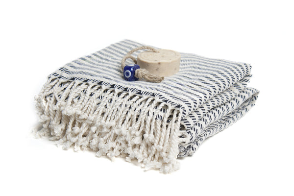 Natural Cotton Hand-Loomed Turkish Bath Towel, Cream Based with Striped Bath Towel, Eco-friendly Turkish Bath Towel, Unisex Beach Towel, Sport Towel, Hammam Towel - AHENQUE