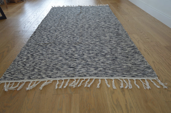 Modern Style Striped Area Rug, Handloomed Turkish Rug, Washable and Reversible Striped Hand-loomed Turkish Kilim Rug 35x75 in (90x190 cm) - AHENQUE