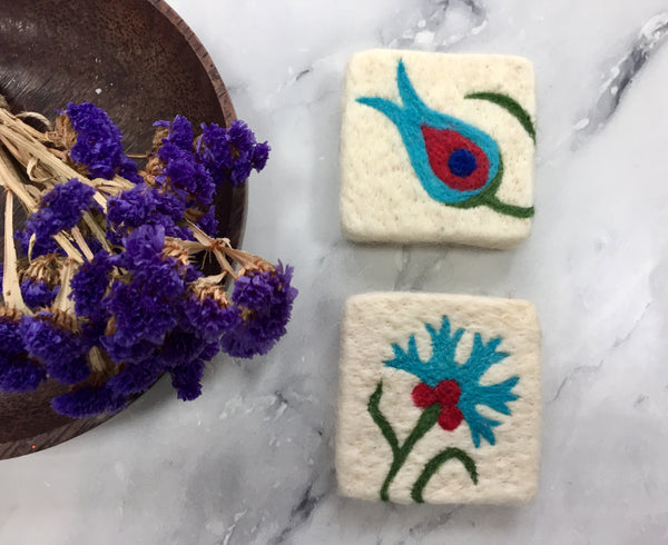 Set of 2, Clove&Tulip Floral Design Felt Soap, Felted Bar Soap, Handmade Felted Wool Soap Scrub, Natural Exfoliate Soap, Beauty Gifts