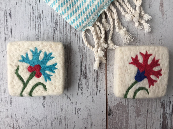 Set of 2 Clove Felt Soap, Felt Washcloth Soap, Handmade Felted Wool Soap Scrub, Natural Exfoliate Soap, Beauty Gifts