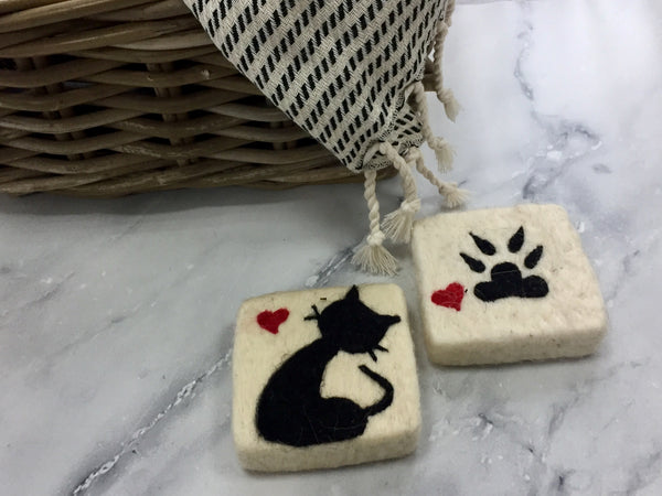Set of 2 Cat&Paw Felt Soap, Needle Felted Bar Soap, Handmade Felted Wool Soap Scrub, Natural Exfoliate Soap, Beauty Gifts - AHENQUE
