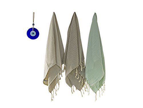 Set of 2, Natural Cotton Hand-Loomed Turkish Tea Towel/Face Towel, Cream Based with Striped  Kitchen Towel, Extra Soft Dishclothes - AHENQUE