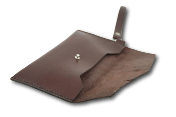 Dark Brown Leather Clutch, Leather Envelope Purse,Leather Bag, Handmade Envelope Clutch - AHENQUE