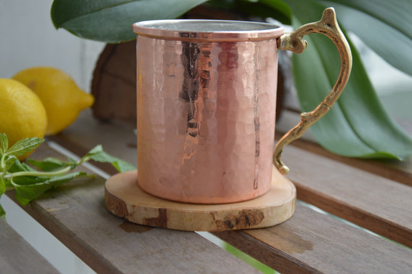 %100 Pure Copper Hand Hammered,Normal Size Red Copper Mug, Copper Beer Mug, Moscow Mule Mug, Office/Boyfriend/Father Gift, Bar Drinkware - AHENQUE