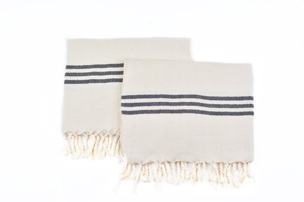 Extra Soft&Highly Absorbent Cream Based Striped Pure Cotton Tea Towel,Hand/Face/Hair Towel, Pack of 2  Hand-Loomed Turkish Cotton Tea Towels With Fringe - AHENQUE
