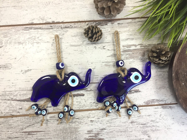 Handmade Elephant Blue Lucky Eye Wall Charm, Glass Evil Eye Wall Hanging Charm, Home Gift Amulet, Newborn Baby Gift - AHENQUE