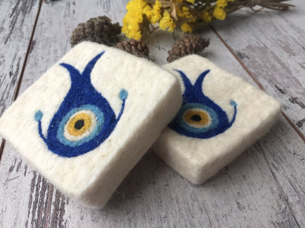 Set of 2 Blue Eye/Lucky Eye Felt Soap, Needle Felted Bar Soap, Handmade Felted Wool Soap Scrub, Natural Exfoliate Soap, Beauty Gifts