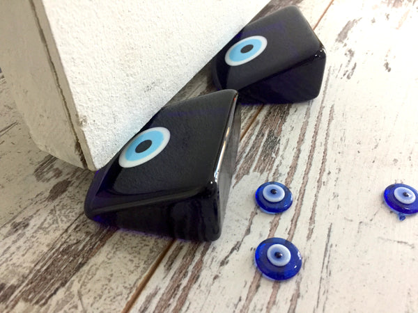 2 Piece Evil Eye Glass Door Stopper, Business Paperweight,  Blue Glass Wedge& Paperweight, Handmade Door Stop, Home Decor Gift - AHENQUE