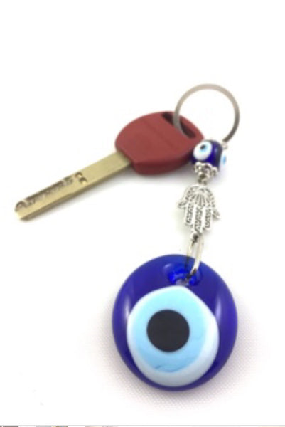 Unique Turkish Evil Eye Amulet Keychain Set of 5, Handmade Round Shape Blue Glass Luck Keyrings Decorated with Hamsa(Hand Shaped Figure), Turkish Nazar Boncugu, Gift For Mother/Friend/Her/Him - AHENQUE