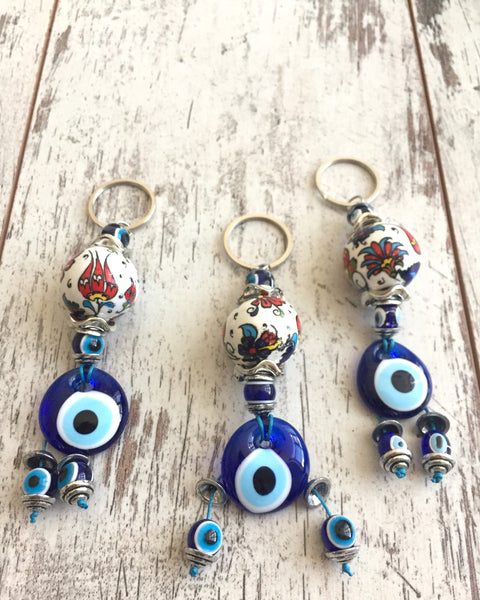 3 piece, Evil Blue Eye Keyring/Keychain decorated with Clave Motif Ceramic - AHENQUE