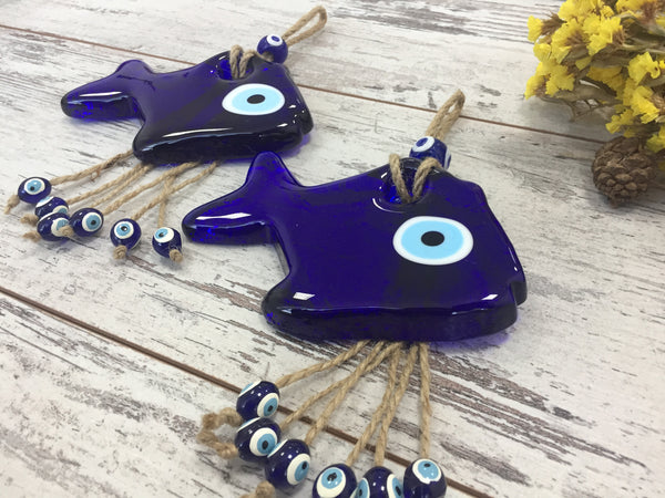 Handmade Blue Fish Evil Eye Wall Hanging Talisman, Glass Home Accessories, Newborn Gift/Baby Birth Gift, Home Decor Charm Gift - AHENQUE