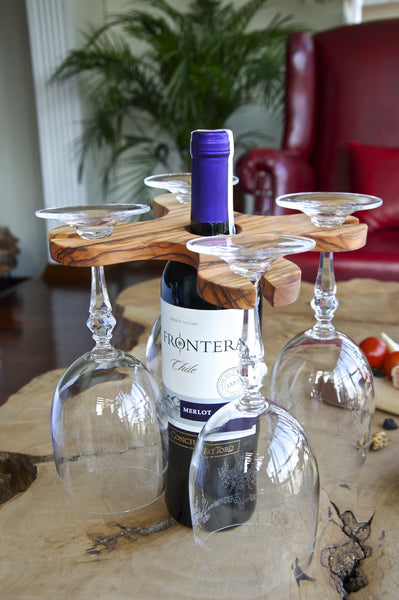 Handmade Olive Wood Wine Glass Holder, Wine Bottle&Glass Rack, Wine Accessory, Stemware Rack - AHENQUE