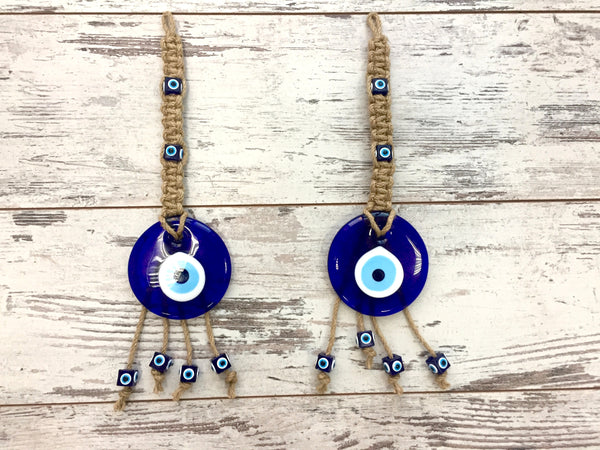 Set of 2 Handmade Glass Lucky Eyes Charm Ornament, Round Turkish Blue Evil Eye Beads, Evil Eye Talisman, Nazar Boncuk, Turkish Glass Amulet, Wall Hanging, Decorative Hanging Jute Rope