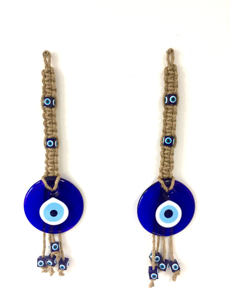 Set of 2 Handmade Glass Lucky Eyes Charm Ornament, Round Turkish Blue Evil Eye Beads, Evil Eye Talisman, Nazar Boncuk, Turkish Glass Amulet, Wall Hanging, Decorative Hanging Jute Rope - AHENQUE
