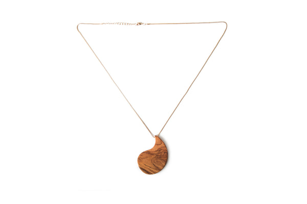 Handmade Necklace with Wood (Olive Tree) Pendant, Gold Color Chain Length: 23″ ~ 60 cm - AHENQUE