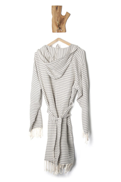 Natural Cotton Hand-Loomed Turkish Bathrobe, Cream Based with Striped Color Bathrobe with Hood,  Eco-friendly Turkish Bathrobe, Unisex Kimono Bathrobe Hooded - AHENQUE
