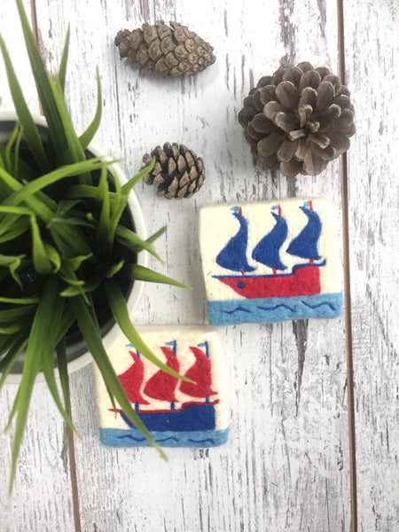 Set of 2, Red&Navy Kalyon Design Felt Soap, Washcloth Soap Bar With Ship Figure, Olive Oil Natural Soap, Handmade Felted Wool Soap Scrub, Natural Exfoliate Soap, Art, Beauty Gifts