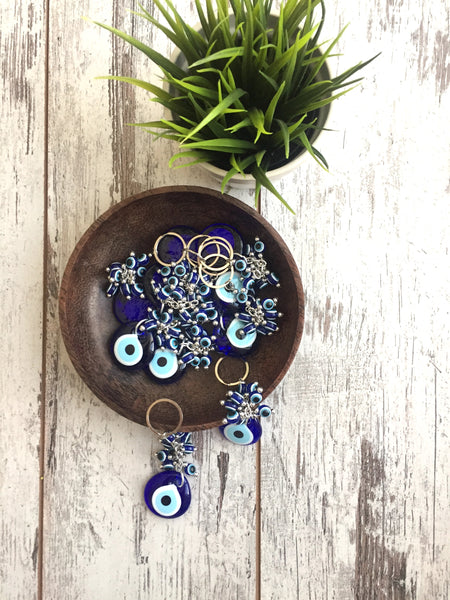 Set of 5 Evil Eye Keychain Set with Blue Evil Eye Beads - AHENQUE
