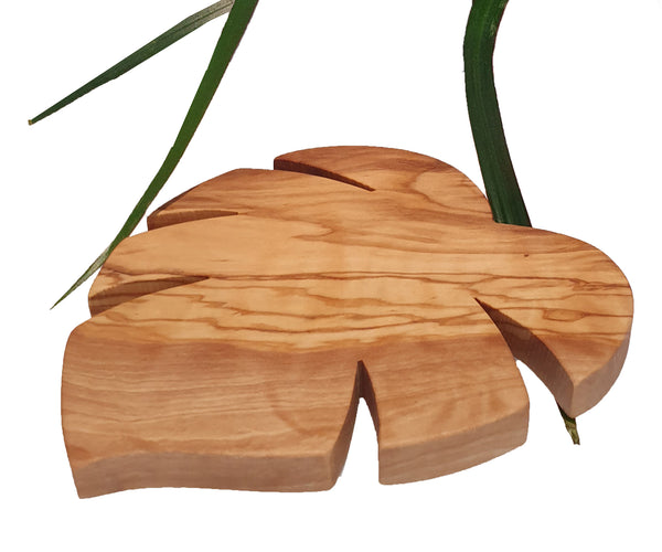 Handmade Tropical Leaf Monstera plant Shaped Wooden Trivet/Coaster, Wood From Olive Tree,  Hand-crafted Wooden Kitchen Tabletop Accessory, Length:5.9 inch