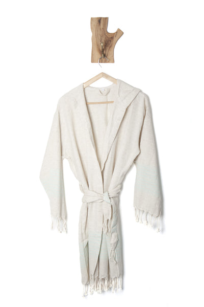 Premium Quality Linen Bathrobe with Hood, Hand-Loomed, Eco-friendly Turkish Bathrobe, Natural Look Linen  Bathrobe striped with colors,  Unisex Kimono Bathrobe - AHENQUE